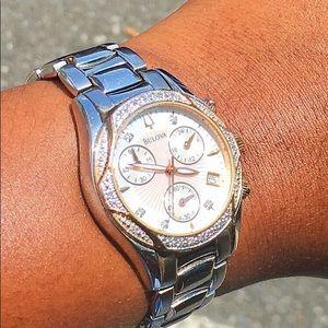 BULOVA silver & rose gold  watch with diamonds